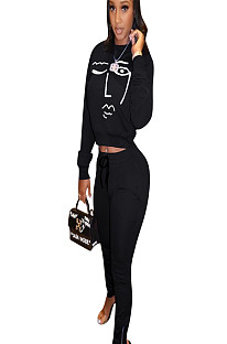 Black round neck long sleeve front logo printed t-shirt & pants set ED8166