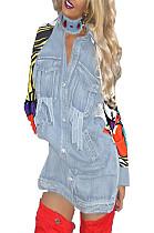 cartoon printed sleeve patch pocket shirt dress BN9045