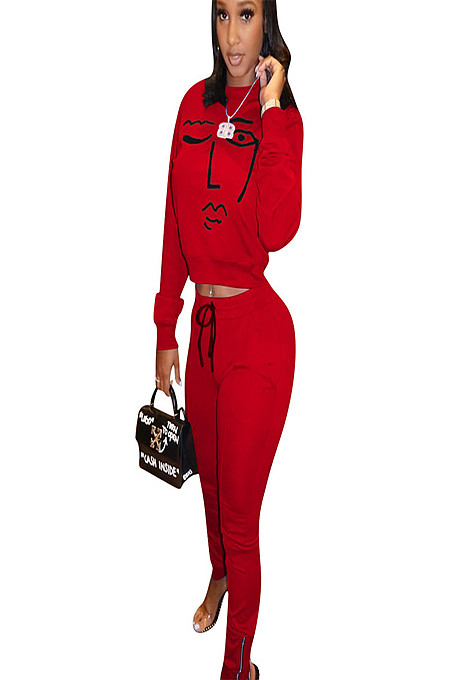 Red round neck long sleeve front logo printed t-shirt & pants set ED8166
