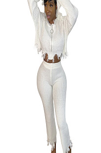 White rib knit front zipper blouse with tassel trim & pants set ED8169