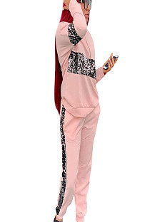 Pink Half Zip Up Front Blouse with Sequined Detail & Pants Set AFY684