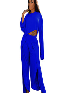 Blue Asymmertrical Trim Drop Sleeve Blouse & Loose Pants A8524