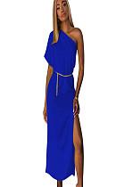 فستان طويل بأكمام قصيرة غير متماثل أزرق مع شق جانبي TRS910