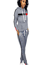Gray winter sport pants set with hooded blouse and side strip printed D8334