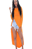 Orange collarless long sleeve side slit long dress Q419