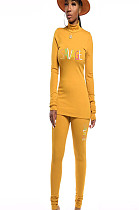 Mustard yellow high neck blouse with front logo print &pants set D8332