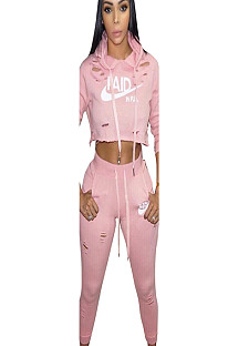 Pink Hooded Two-Piece Sport Pants Set with front logo print LS6079