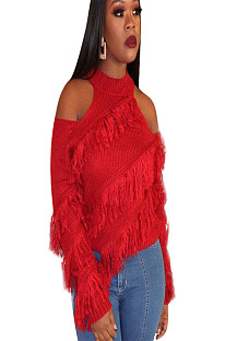 Red round neck off shoulder blouse with tassel detail ED8167
