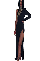 Black one off shoulder leave embroideied detail side slit dress QZ4096