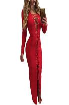 فستان طويل بدون ياقة من الأمام متقاطع أحمر BN9046