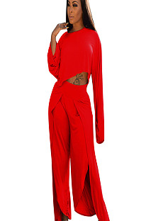 Red Asymmertrical Trim Drop Sleeve Blouse & Loose Pants A8524