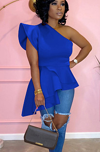 Blue one shoulder pleated hem top QQM3976