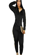 Black Side Print Zip Up Front Sport Hoodie Blouse & Pants Sets Q413