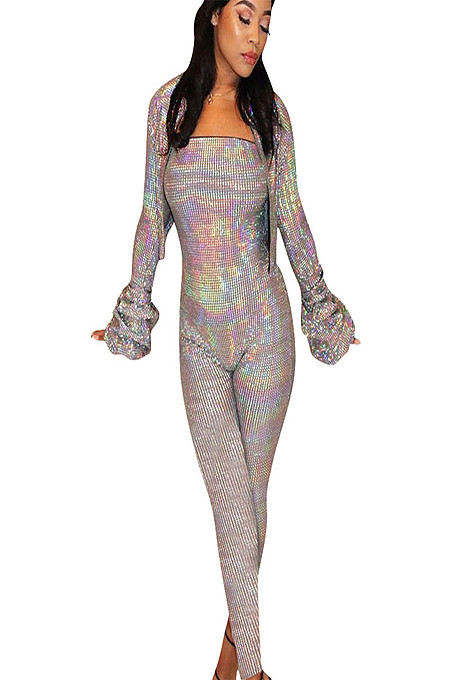 Gray Sequined Off Off Shoulder Jumpsuit with Pleadted Cuff Coat NK083