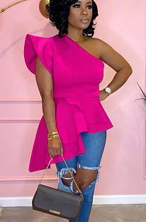 Pink one shoulder pleated hem top QQM3976