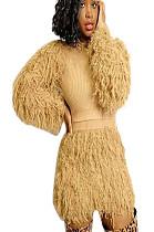 Mustard Yellow Teddy Sleeve Shear Texture Short Set A8526