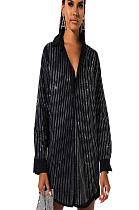 Black Double Layer Sequined Stripes  Shirt Dress GL6231
