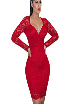 Red Plunging Neck Embroidered Shoulder Bodycon Dress HH8906