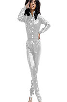 Silver Shiny Sequined Buttom Front Side Stripes details Blouse & pants Set Q409