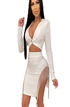 White Sexy Buttom Front Plunging Neck Blouse & Skirt with Shiny Tassel Trim ME2795