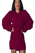 Red Teddy Sleeve Shear Texture Short Set A8526
