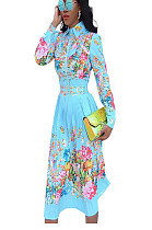 Light Blue Floral Print Doubel Layer Wrap Long Dress SMR9550