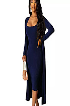 Navy Blue Skinny Slip Dress with Matching Coat A8520