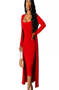 Red Skinny Slip Dress with Matching Coat A8520