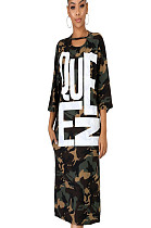 Camouflage Letter Print Long Dress GL6226