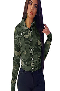 Camouflage Flat Pocket Zip Up Front Coat NK087