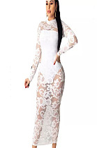 White Floral Embroidery Mesh Long Dress WMZ2547