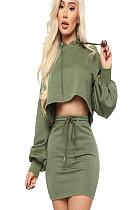 Πράσινη μπλούζα με επένδυση από μανίκια και σετ φούστα με αυτοκόλλητο GL6221