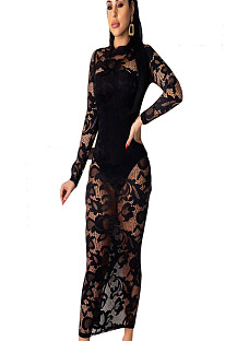 Black Floral Embroidery Mesh Long Dress WMZ2547