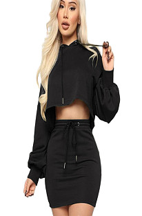 Black Bishop Sleeve Hoodie Blouse & Self Tied Skirt Set GL6221