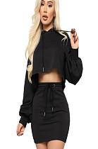 Μαύρη μπλούζα με φούτερ με μανίκια και σετ φούστα με αυτοκόλλητη φούστα GL6221