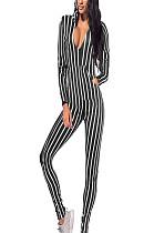 Black & White Stripes V Neck Hoodie Jumpsuit Q416