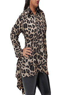 Leopard Pattern Print Buttom Up Frill Trim Shirt OMY8012