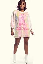 Розовая блестящая футболка с круглым вырезом с принтом букв X9228