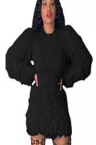 Black Teddy Sleeve Shear Texture Short Set A8526