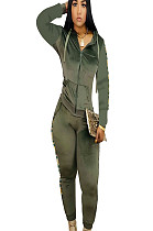 Green Side Print Zip Up Front Sport Hoodie Blouse & Pants Sets Q413