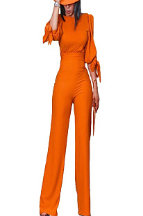Orange Bowknot Cuff with High Waist Pants Set OMY8016