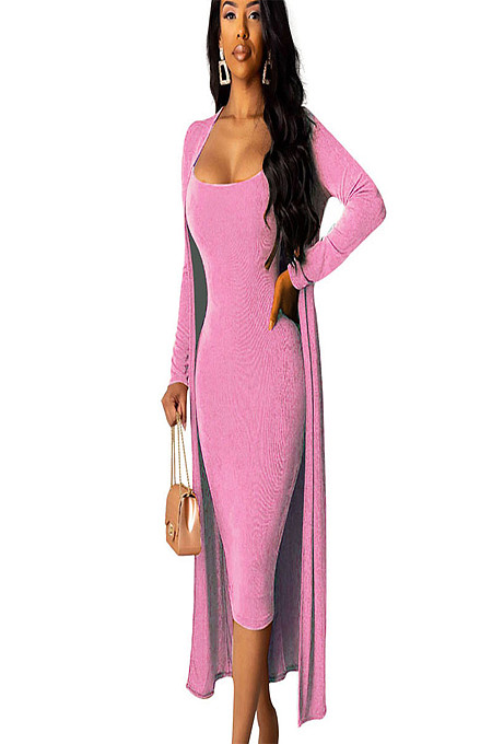 Pink Skinny Slip Dress with Matching Coat A8520