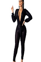 Black Plunging Neck Shirred Cuff Bodycon Jumpsuit ME2797
