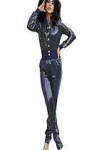 Blue Shiny Sequined Buttom Front Side Stripes details Blouse & pants Set Q409