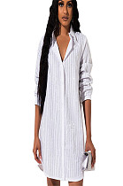 White Double Layer Sequined Stripes  Shirt Dress GL6231