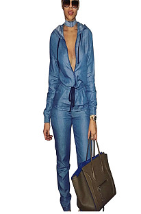 Blue Zip Up Front Hoodie Wrap & Tied Blouse & Pencil Pants Set ZS075