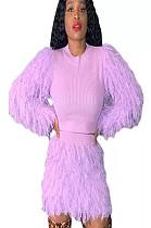 Pink Teddy Sleeve Shear Texture Short Set A8526