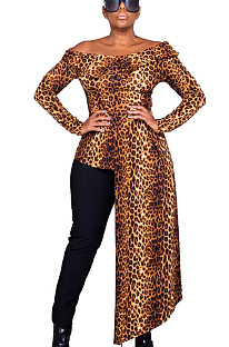 Leopard Pattern Print Off Shoulder Blouse with Split Trim WJ5067