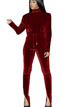 Wine Red Nylon High Neck Self-tied Pants Set with Split leg TK6058