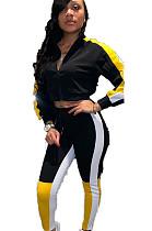 Black  Constrast Color Stripe Side Print with V Neck Blouse & Skinny Pants Set  WJ5080